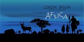 Afrikanischer Tier-Hintergrund Vektor der Karte Afrika-wild lebender Tiere vektor abbildung