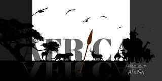 Afrikanischer Tier-Hintergrund Vektor der Karte Afrika-wild lebender Tiere lizenzfreie abbildung