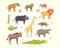 Afrikanischer Tierkarikatur-Vektorsatz Elefant, Nashorn, Giraffe, Gepard, Zebra, Hyäne, Löwe, Flusspferd, Krokodil, gorila und Stockfotos