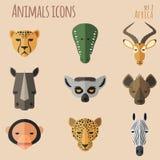Afrikanischer Tierporträt-Satz mit flachem Design Stockbild