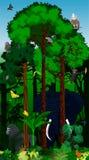 Afrikanischer tropischer Dschungel der Vektor-Illustration mit Tieren Lizenzfreies Stockfoto