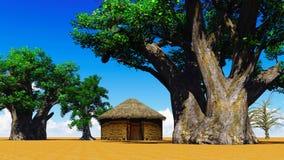 Afrikanisches Dorf Stockfotografie
