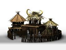 Afrikanisches Dorf 3d übertragen stock abbildung
