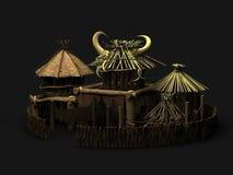 Afrikanisches Dorf 3d übertragen vektor abbildung