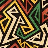Afrikanisches geometrisches nahtloses Muster mit Schmutzeffekt Lizenzfreie Stockfotografie
