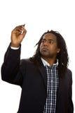 Afrikanisches Geschäftsmann-Schreiben lizenzfreie stockfotografie