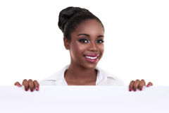 Afrikanisches Geschäftsfrau-Zeichen Lizenzfreie Stockfotos
