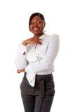 Afrikanisches Geschäftsfraulachen Lizenzfreies Stockfoto