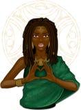 Afrikanisches Mädchen, das Herz durch Finger zeigt Stockfotografie