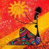 Afrikanisches Mädchen hält die digitale Malereigrafik der Sonne auf roter abstrakter Hintergrundillustration vektor abbildung