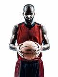 Afrikanisches Mannbasketball-spieler-Schattenbild lizenzfreie stockfotos