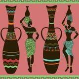 Afrikanisches nahtloses Muster von Mädchen und von Vasen Stockfotos