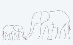 Afrikanisches Tier Federzeichnung der Elefantfamilie lizenzfreie abbildung