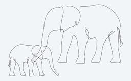 Afrikanisches Tier Federzeichnungsvektor der Elefantfamilie vektor abbildung