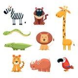 Afrikanisches Tier-Spaß-Karikatur-Klipp Art Collection Stockfoto