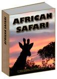 AfrikanSafari Book begrepp med solnedgång och giraffet Arkivfoto