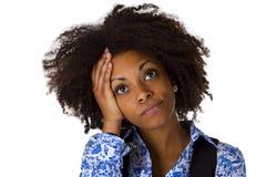 Afrikansk amercan kvinna för sorgsenhet Arkivfoto