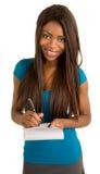 afrikansk amerikanaffärskvinnaanmärkningar som tar barn royaltyfri foto