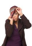 Afrikansk amerikanflicka med roligt uttryck Arkivbild