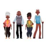 Afrikansk amerikangamala män och kvinna royaltyfri illustrationer