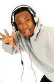 afrikansk amerikanhörlurar med mikrofon Arkivfoton