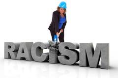 Afrikansk amerikankvinna som bär en skyddshjälm som bromsar en 3d Fotografering för Bildbyråer