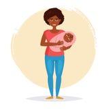 Afrikansk amerikankvinna som rymmer en chil royaltyfri illustrationer