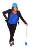 Afrikansk amerikankvinna som rymmer en rivninghammare - svart peop arkivbild