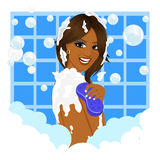 Afrikansk amerikankvinna som tar ett bad med svamp- och bubblaskum vektor illustrationer