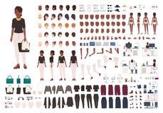 Afrikansk amerikankvinnasekreterare, chef eller kontorsassistent DIY eller animeringsats Uppsättning av kroppsdelar för kvinnligt royaltyfri illustrationer