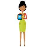 Afrikansk amerikankvinnatecken med minnestavlavektorillustrationen vektor illustrationer
