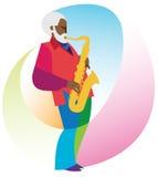 Afrikansk amerikanmannen är en saxofonist Arkivbild