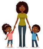 Afrikansk amerikanmoder med två gulliga ungar royaltyfri illustrationer