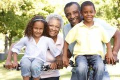 Afrikansk amerikanmorföräldrar med barnbarn som in cyklar, parkerar arkivbilder