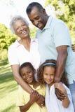 Afrikansk amerikanmorföräldrar med barnbarn som in går, parkerar Arkivbild