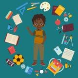 Afrikansk amerikanpojke med skolatillförsel royaltyfri illustrationer