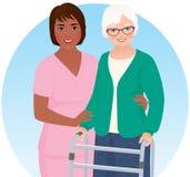 Afrikansk amerikansjuksköterska och hennes patient vektor illustrationer