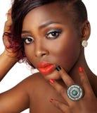 Afrikansk amerikanskönhetmodell Arkivbild