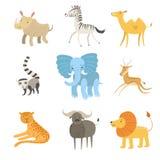 Afrikansk djurillustrationuppsättning stock illustrationer