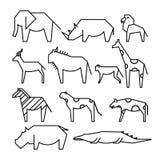 Afrikansk djurlinje symboler tillbehörkonstinnegrej henne illustrationlinje kvinna Elefant noshörning, lejon, apa, gasell, giraff royaltyfri illustrationer