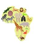 Afrikansk djuruppsättning med afrikansk översiktsbakgrund Royaltyfri Fotografi