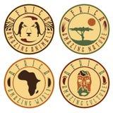 Afrikansk etnisk kultur, djur och natur Arkivbilder