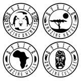 Afrikansk etnisk kultur, djur och natur Arkivfoto