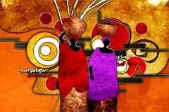 Afrikansk etnisk retro tappningillustration Arkivfoton