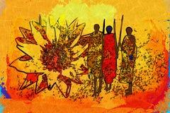 Afrikansk etnisk retro tappningkonst Royaltyfri Bild