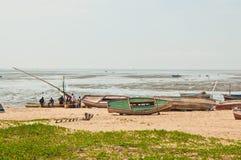 Afrikansk fiskare i Mocambique Arkivfoto