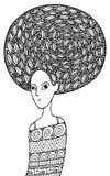 Afrikansk flickafärgläggningsida i bohomodestil