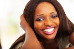 Afrikansk flickaheadshot Fotografering för Bildbyråer