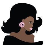 Afrikansk härlig kvinna. Vektorillustration. Arkivfoton