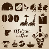 Afrikansk kaffedesignuppsättning Royaltyfri Fotografi